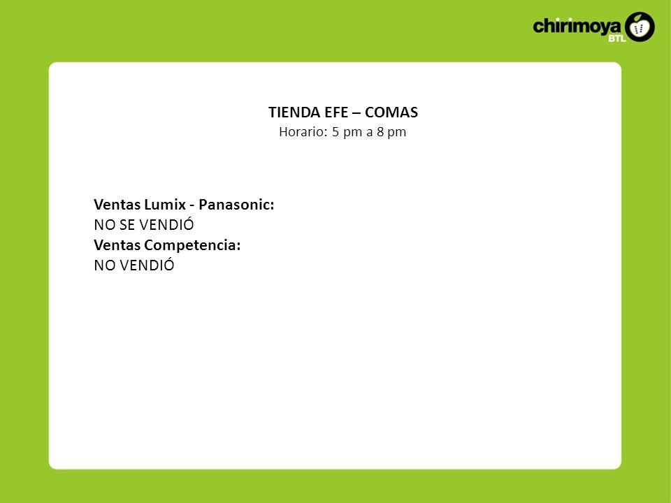 Ventas Lumix - Panasonic: NO SE VENDIÓ Ventas Competencia: NO VENDIÓ