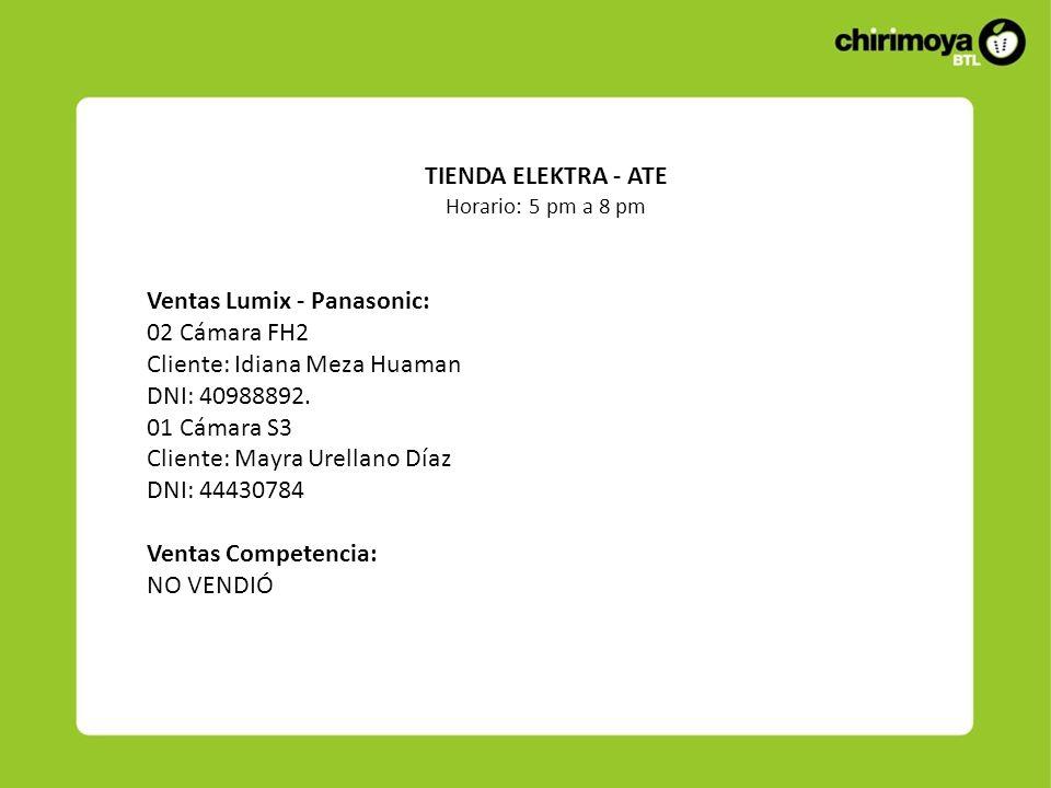 Ventas Lumix - Panasonic: 02 Cámara FH2 Cliente: Idiana Meza Huaman