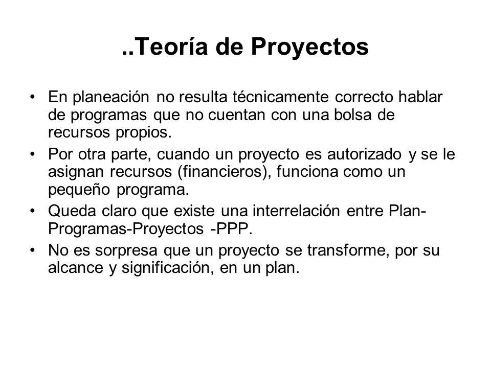 ..Teoría de Proyectos En planeación no resulta técnicamente correcto hablar de programas que no cuentan con una bolsa de recursos propios.