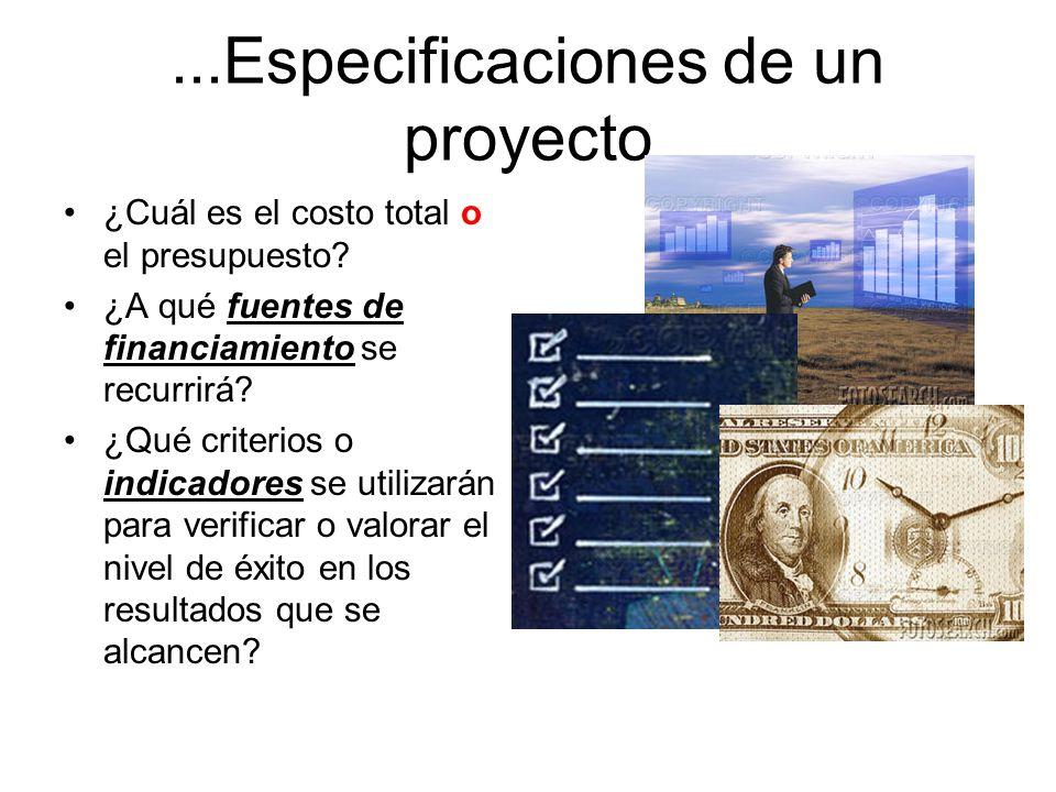...Especificaciones de un proyecto