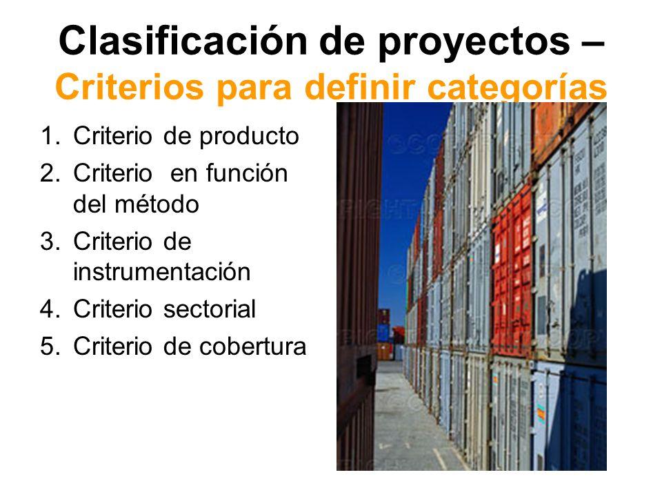 Clasificación de proyectos – Criterios para definir categorías