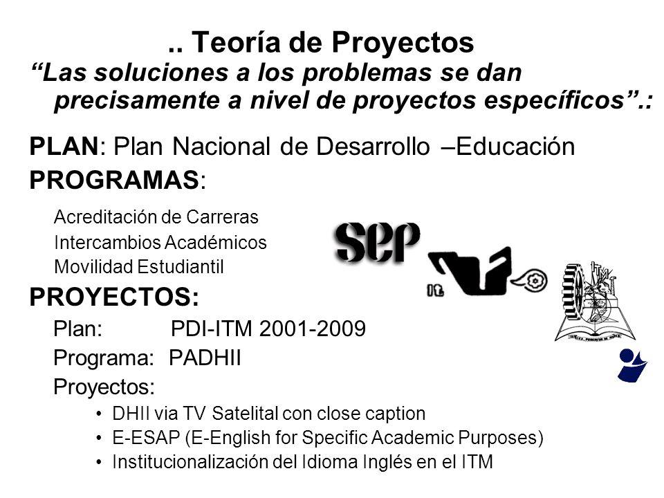 .. Teoría de Proyectos Las soluciones a los problemas se dan precisamente a nivel de proyectos específicos .: