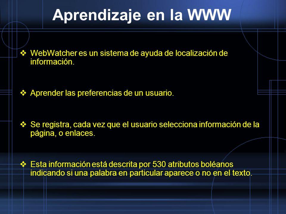 Aprendizaje en la WWW WebWatcher es un sistema de ayuda de localización de información. Aprender las preferencias de un usuario.