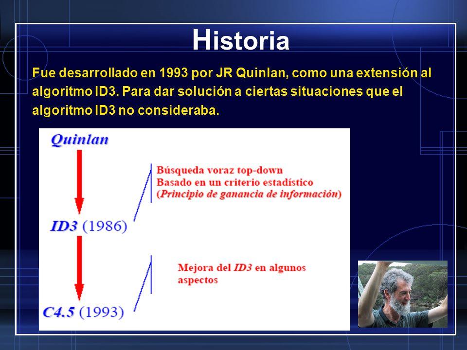 Historia Fue desarrollado en 1993 por JR Quinlan, como una extensión al. algoritmo ID3. Para dar solución a ciertas situaciones que el.
