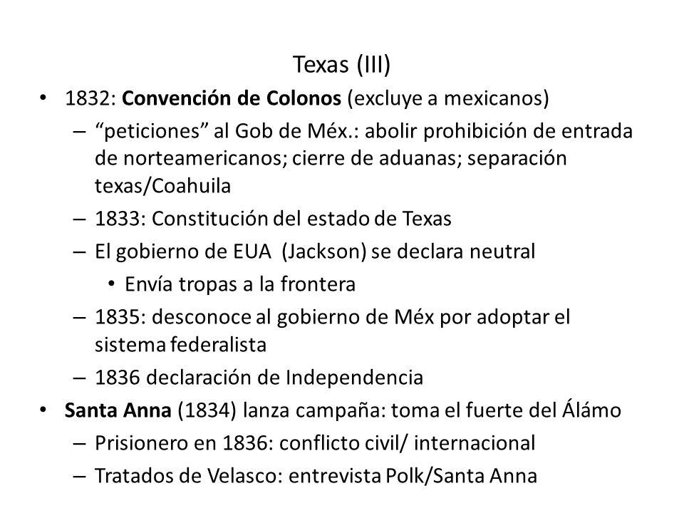 Texas (III) 1832: Convención de Colonos (excluye a mexicanos)
