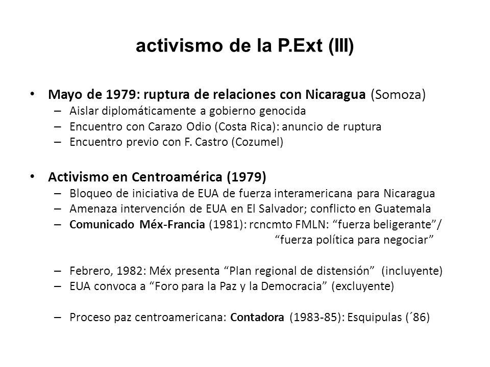 activismo de la P.Ext (III)