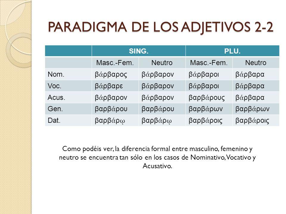 PARADIGMA DE LOS ADJETIVOS 2-2