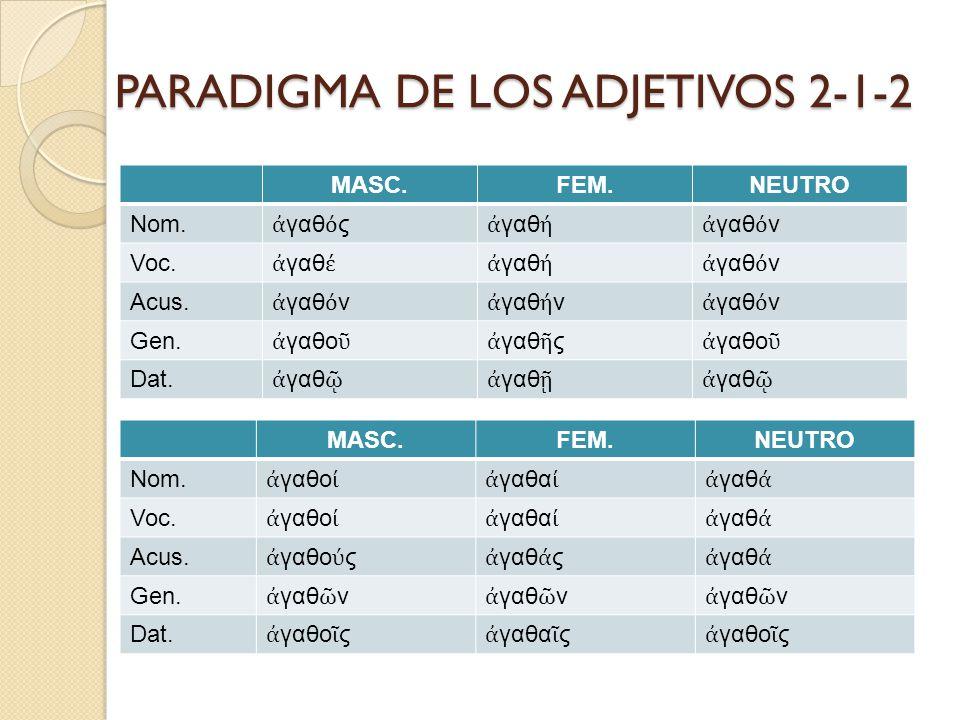 PARADIGMA DE LOS ADJETIVOS 2-1-2
