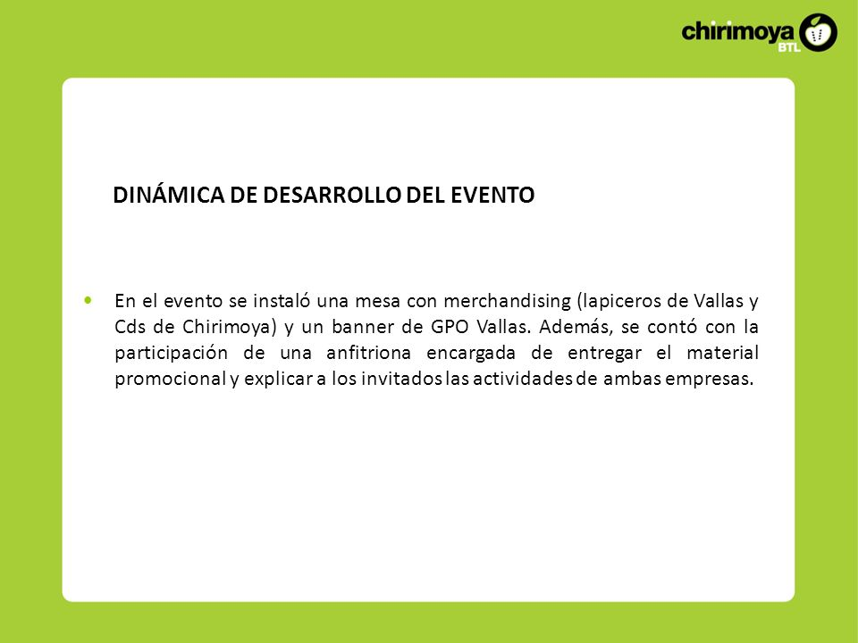 DINÁMICA DE DESARROLLO DEL EVENTO