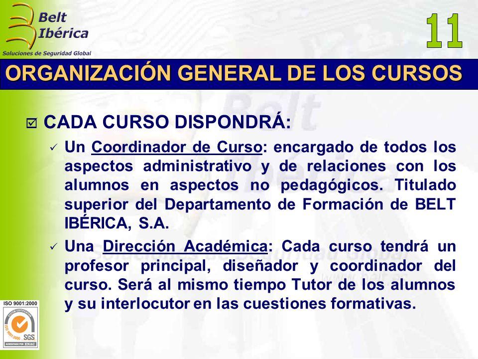 11 ORGANIZACIÓN GENERAL DE LOS CURSOS CADA CURSO DISPONDRÁ: