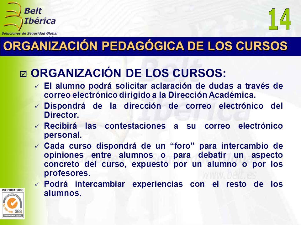 14 ORGANIZACIÓN PEDAGÓGICA DE LOS CURSOS ORGANIZACIÓN DE LOS CURSOS: