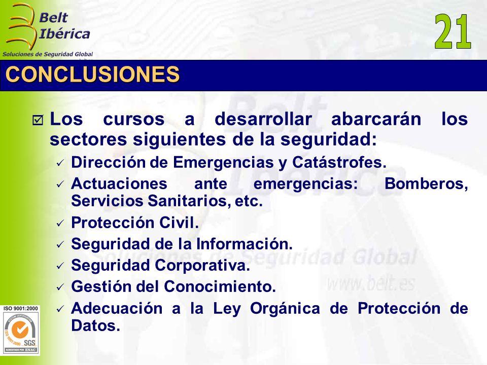 21 CONCLUSIONES. Los cursos a desarrollar abarcarán los sectores siguientes de la seguridad: Dirección de Emergencias y Catástrofes.