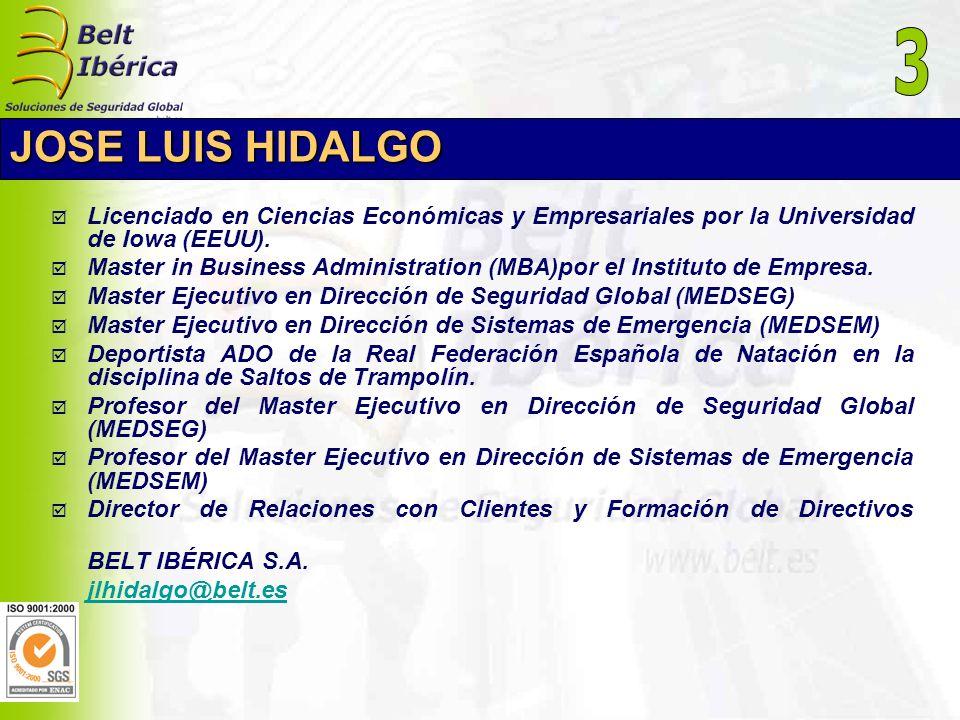 3JOSE LUIS HIDALGO. Licenciado en Ciencias Económicas y Empresariales por la Universidad de Iowa (EEUU).