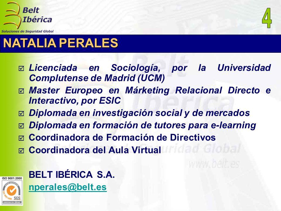 4 NATALIA PERALES. Licenciada en Sociología, por la Universidad Complutense de Madrid (UCM)