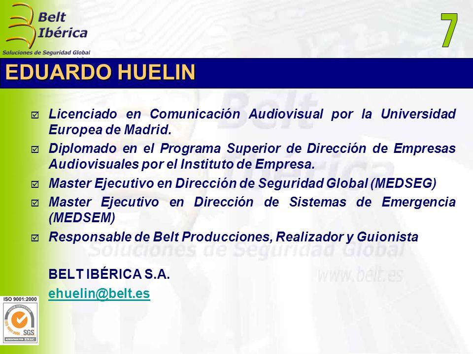 7 EDUARDO HUELIN. Licenciado en Comunicación Audiovisual por la Universidad Europea de Madrid.