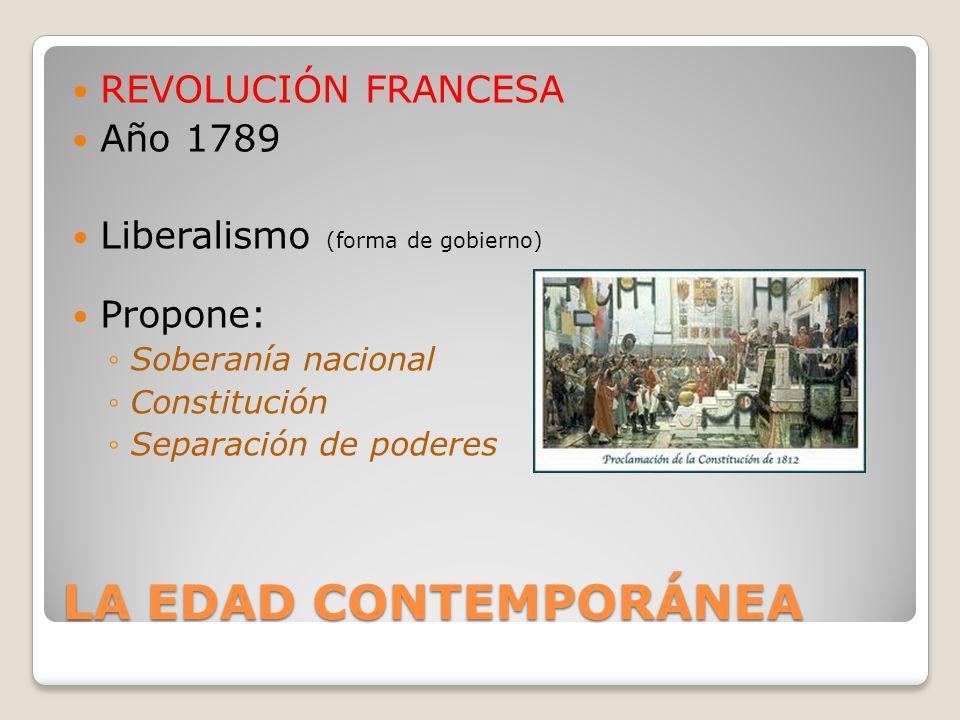 LA EDAD CONTEMPORÁNEA REVOLUCIÓN FRANCESA Año 1789