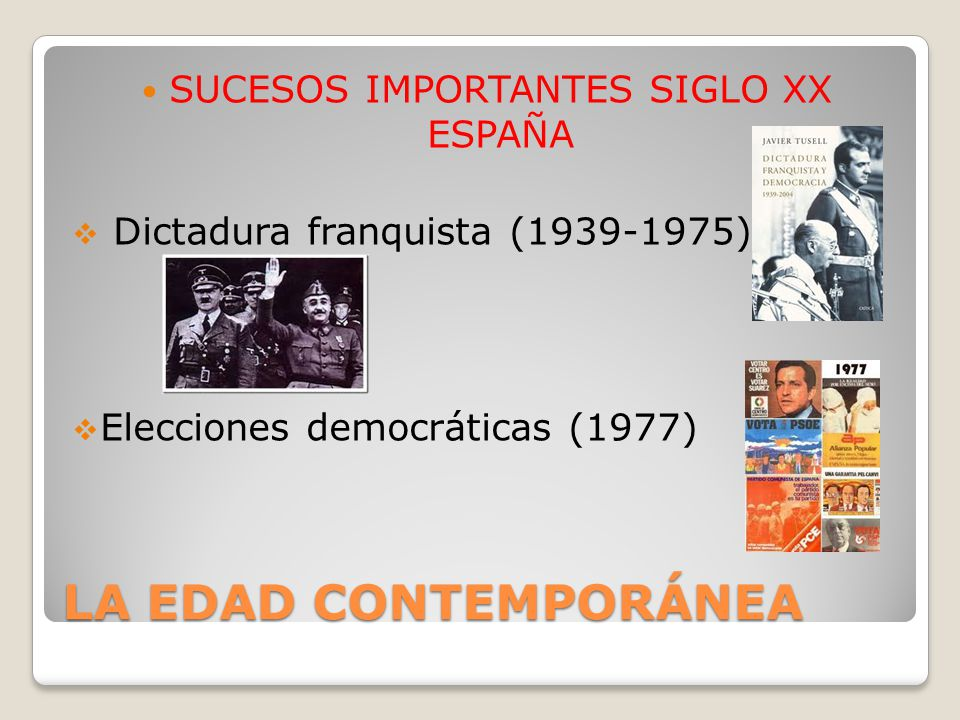 SUCESOS IMPORTANTES SIGLO XX ESPAÑA