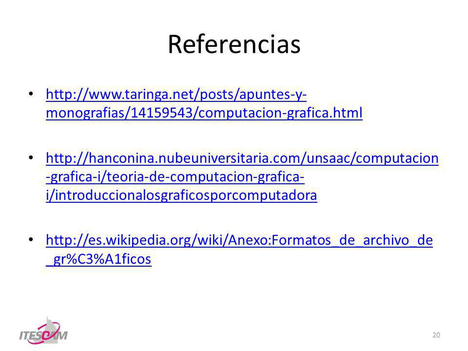 Referencias http://www.taringa.net/posts/apuntes-y-monografias/14159543/computacion-grafica.html.