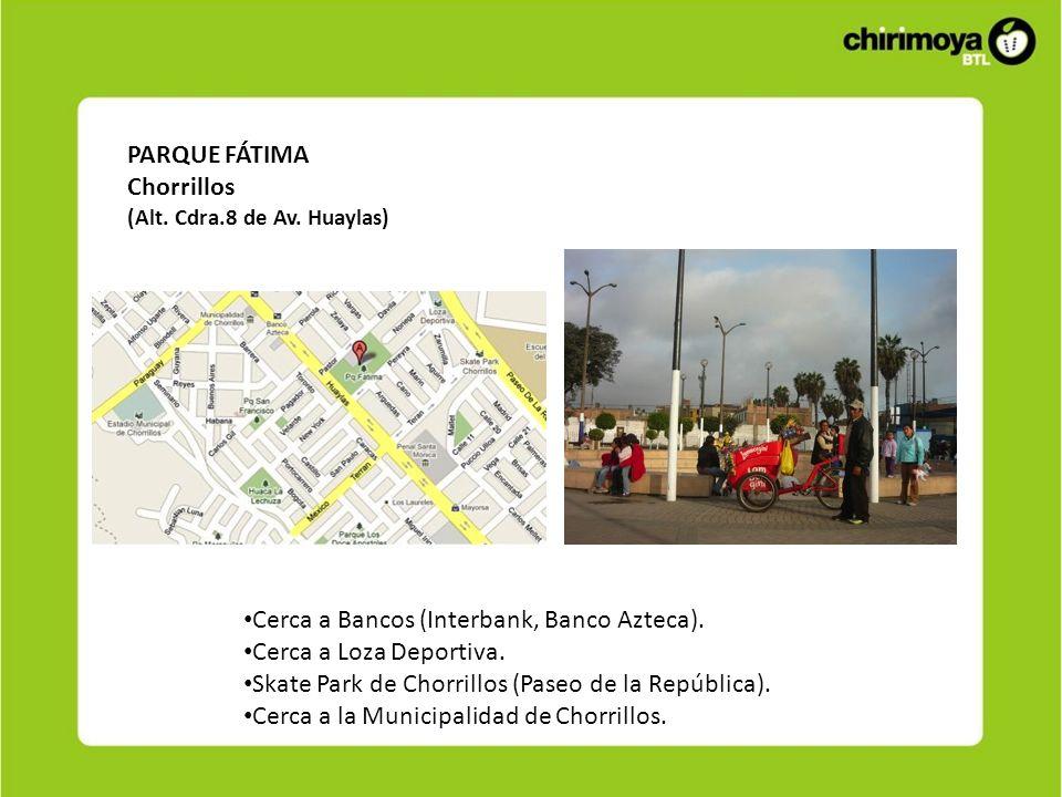 Cerca a Bancos (Interbank, Banco Azteca). Cerca a Loza Deportiva.