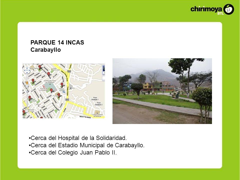 PARQUE 14 INCASCarabayllo. Cerca del Hospital de la Solidaridad. Cerca del Estadio Municipal de Carabayllo.