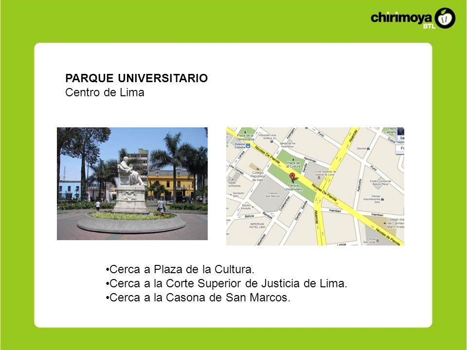 PARQUE UNIVERSITARIOCentro de Lima. Cerca a Plaza de la Cultura. Cerca a la Corte Superior de Justicia de Lima.