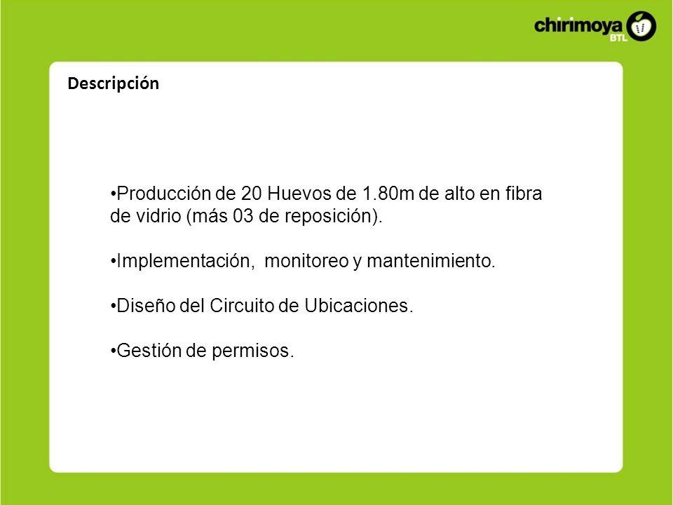 Descripción Producción de 20 Huevos de 1.80m de alto en fibra de vidrio (más 03 de reposición). Implementación, monitoreo y mantenimiento.
