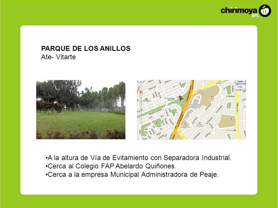 PARQUE DE LOS ANILLOSAte- Vitarte. A la altura de Vía de Evitamiento con Separadora Industrial. Cerca al Colegio FAP Abelardo Quiñones.