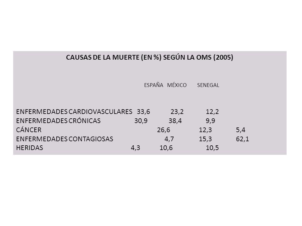 CAUSAS DE LA MUERTE (EN %) SEGÚN LA OMS (2005)