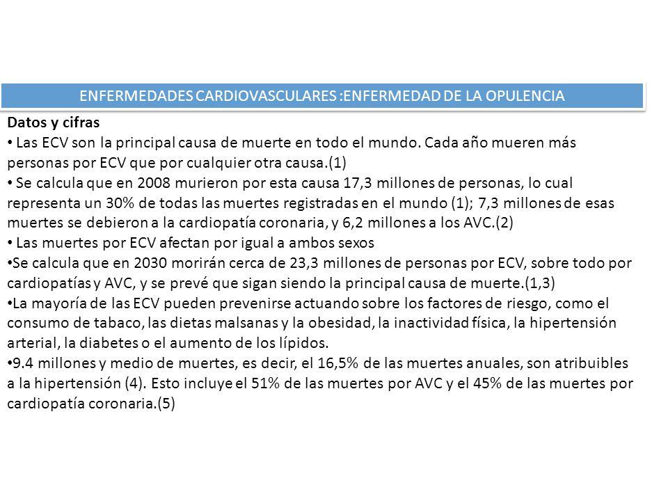 ENFERMEDADES CARDIOVASCULARES :ENFERMEDAD DE LA OPULENCIA