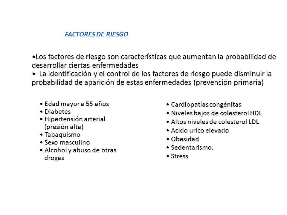 FACTORES DE RIESGO Los factores de riesgo son características que aumentan la probabilidad de desarrollar ciertas enfermedades.