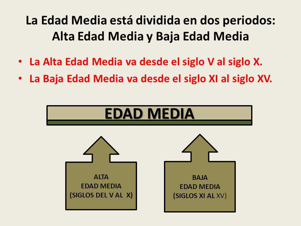 La Edad Media está dividida en dos periodos: Alta Edad Media y Baja Edad Media