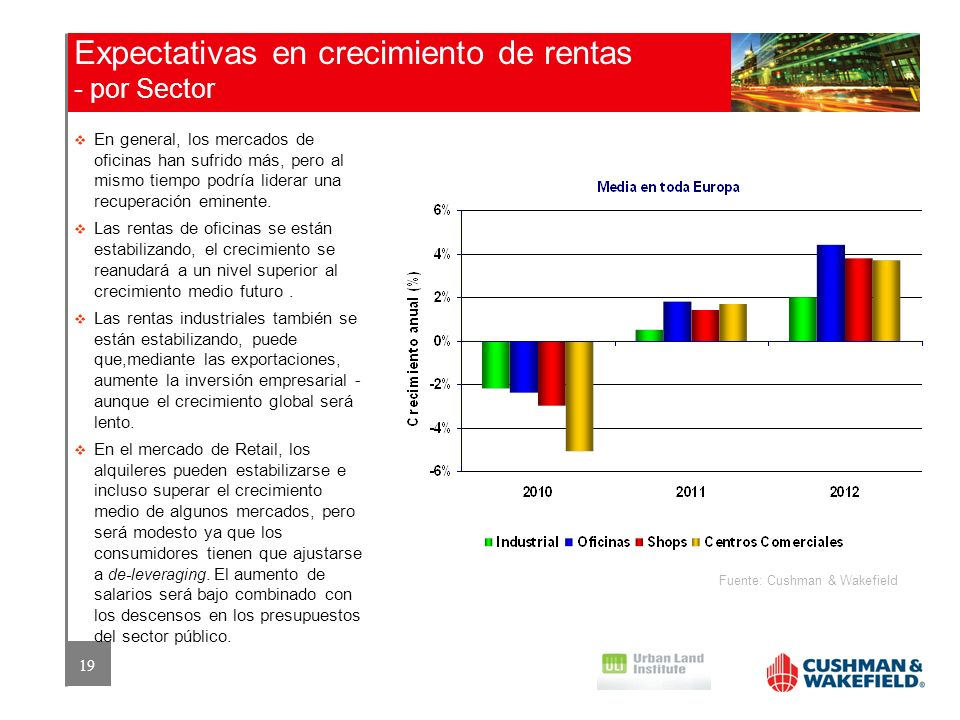 Expectativas en crecimiento de rentas - por Sector