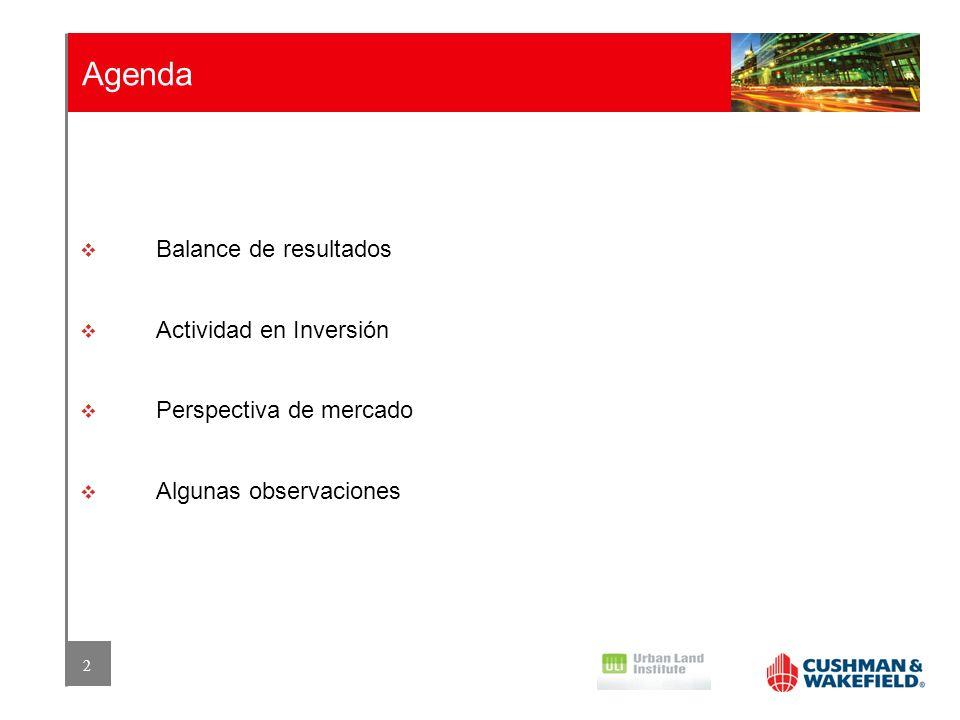 Agenda Balance de resultados Actividad en Inversión