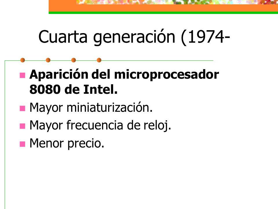 Cuarta generación (1974- Aparición del microprocesador 8080 de Intel.