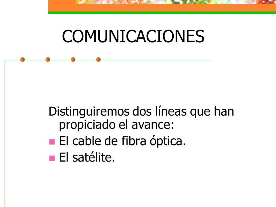 COMUNICACIONES Distinguiremos dos líneas que han propiciado el avance: