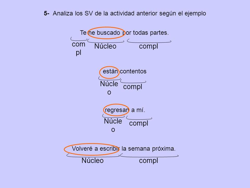 5- Analiza los SV de la actividad anterior según el ejemplo