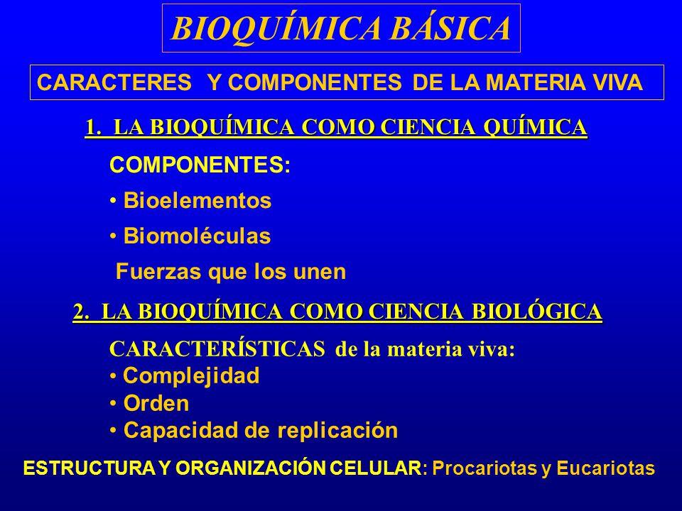 BIOQUÍMICA BÁSICA CARACTERES Y COMPONENTES DE LA MATERIA VIVA