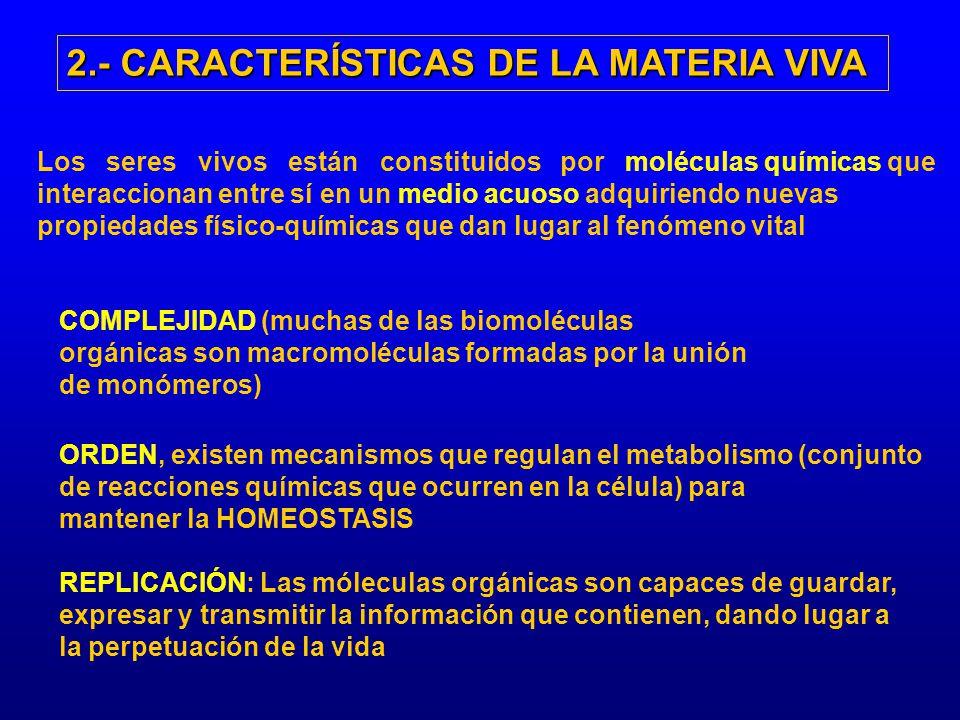 2.- CARACTERÍSTICAS DE LA MATERIA VIVA