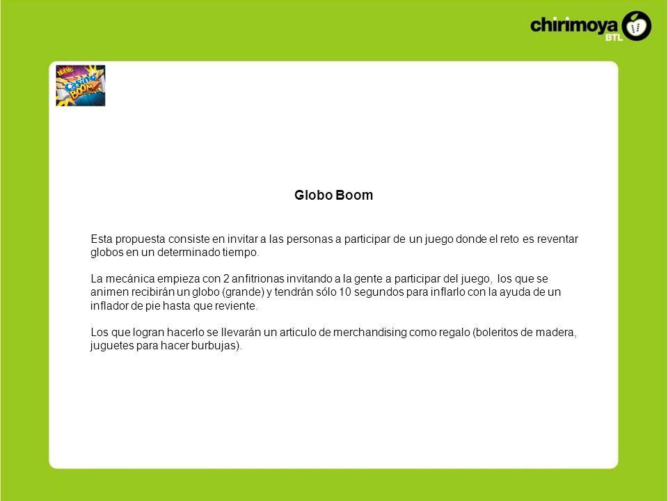 Globo BoomEsta propuesta consiste en invitar a las personas a participar de un juego donde el reto es reventar globos en un determinado tiempo.