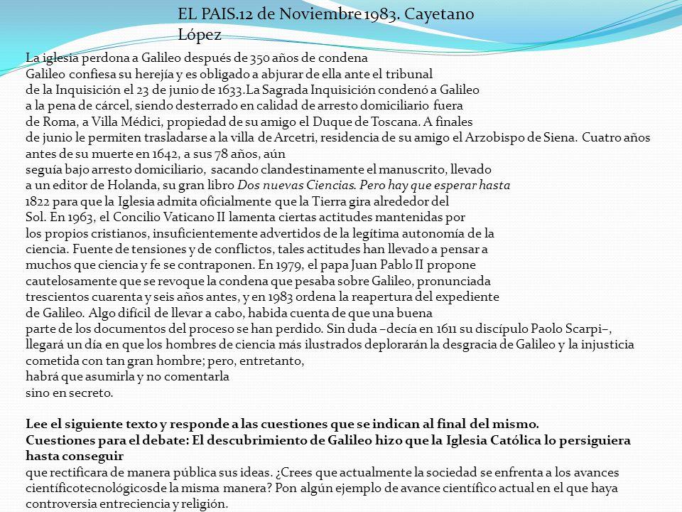EL PAIS.12 de Noviembre 1983. Cayetano López