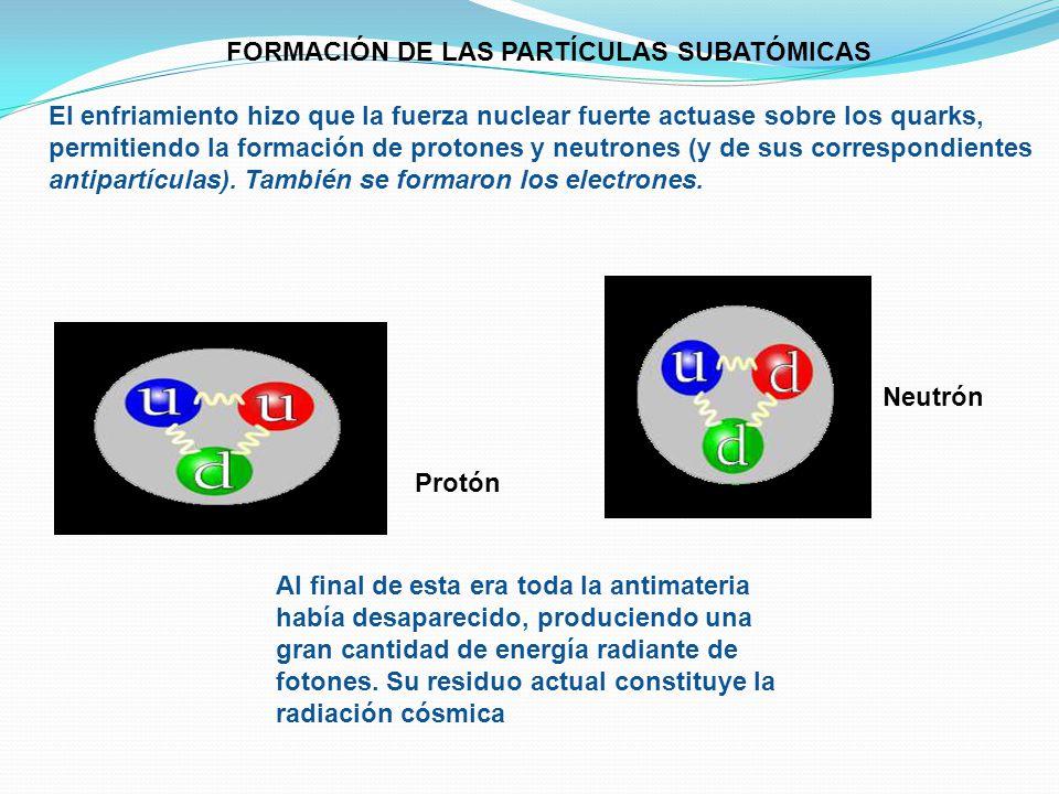 FORMACIÓN DE LAS PARTÍCULAS SUBATÓMICAS