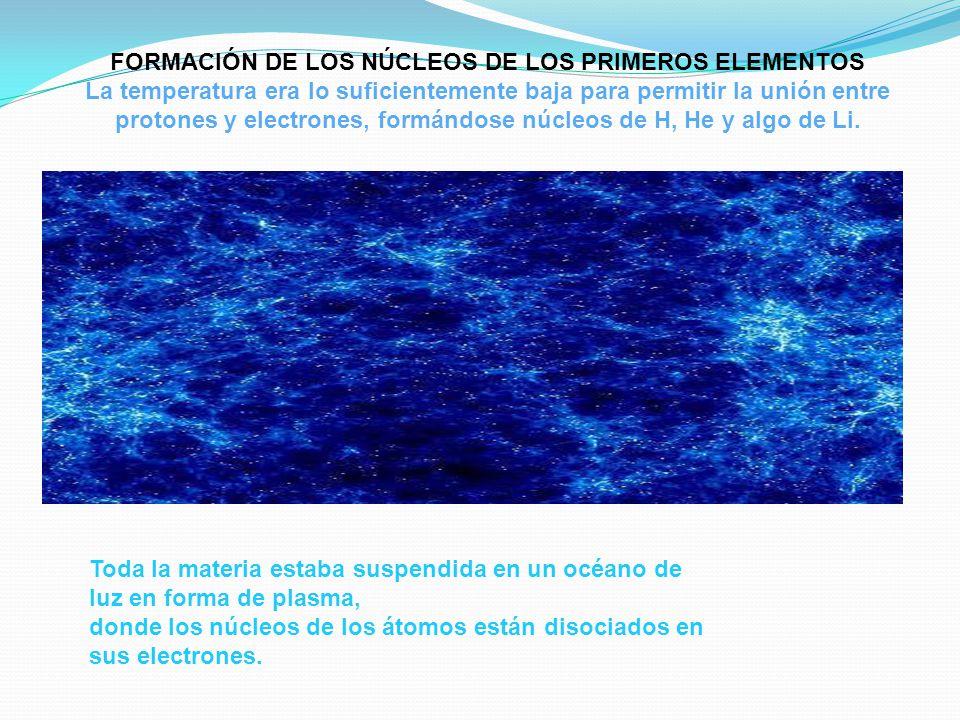 FORMACIÓN DE LOS NÚCLEOS DE LOS PRIMEROS ELEMENTOS