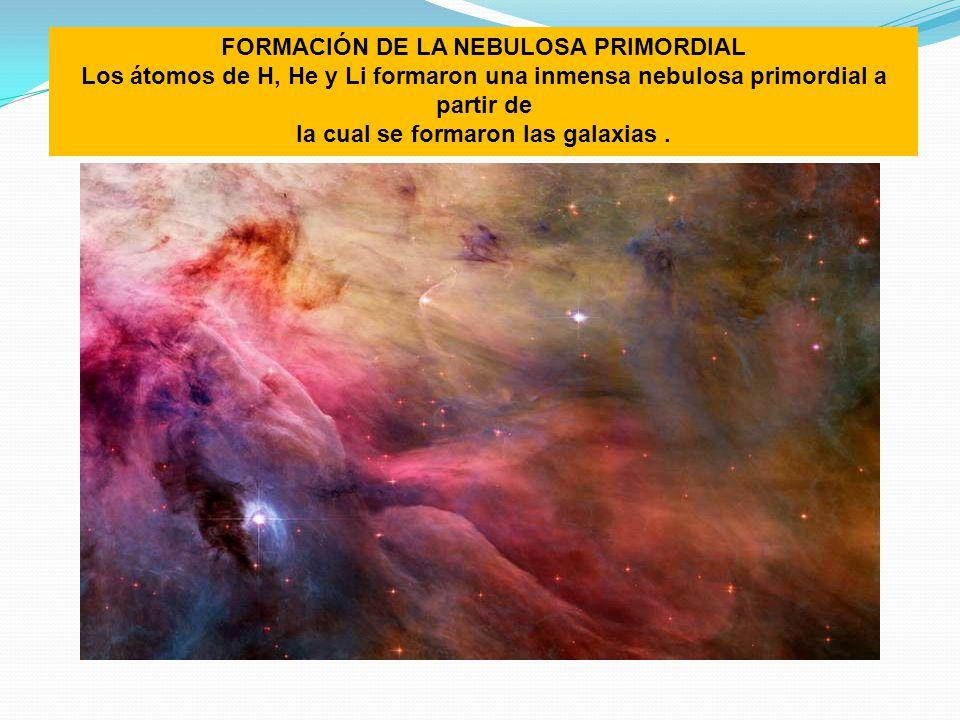 FORMACIÓN DE LA NEBULOSA PRIMORDIAL la cual se formaron las galaxias .
