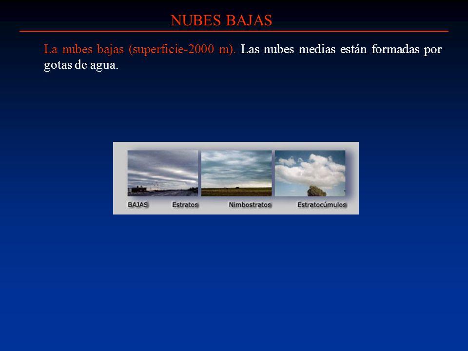 NUBES BAJAS La nubes bajas (superficie-2000 m). Las nubes medias están formadas por gotas de agua.