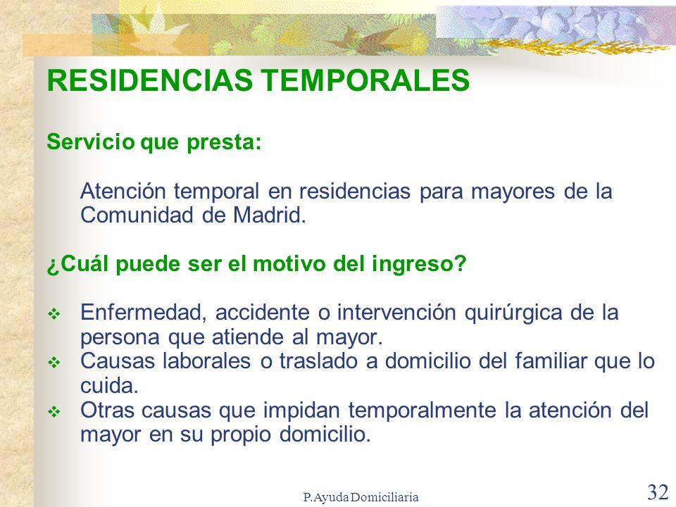 RESIDENCIAS TEMPORALES