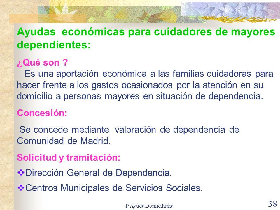 Ayudas económicas para cuidadores de mayores dependientes: