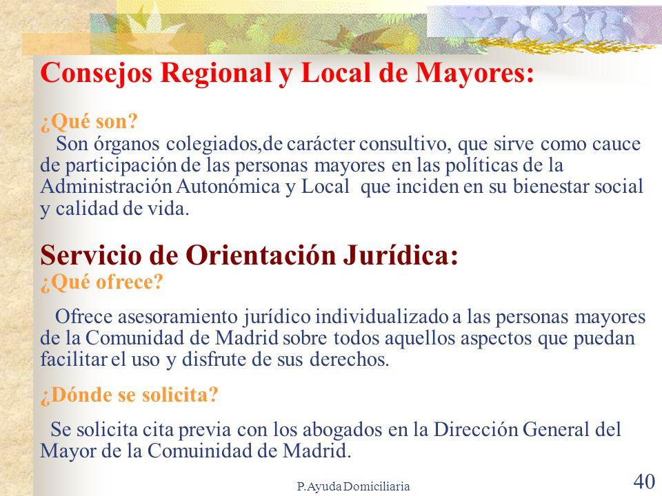 Consejos Regional y Local de Mayores: