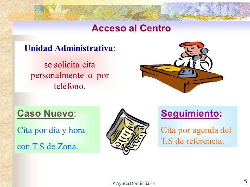 Acceso al Centro Caso Nuevo: Seguimiento: Unidad Administrativa: