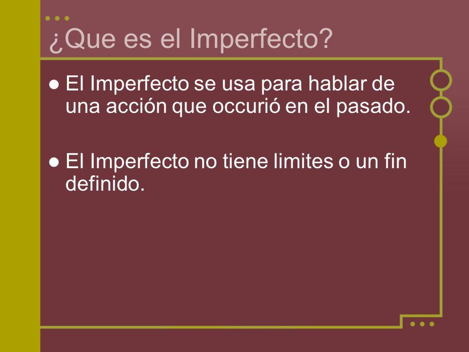 ¿Que es el Imperfecto. El Imperfecto se usa para hablar de una acción que occurió en el pasado.