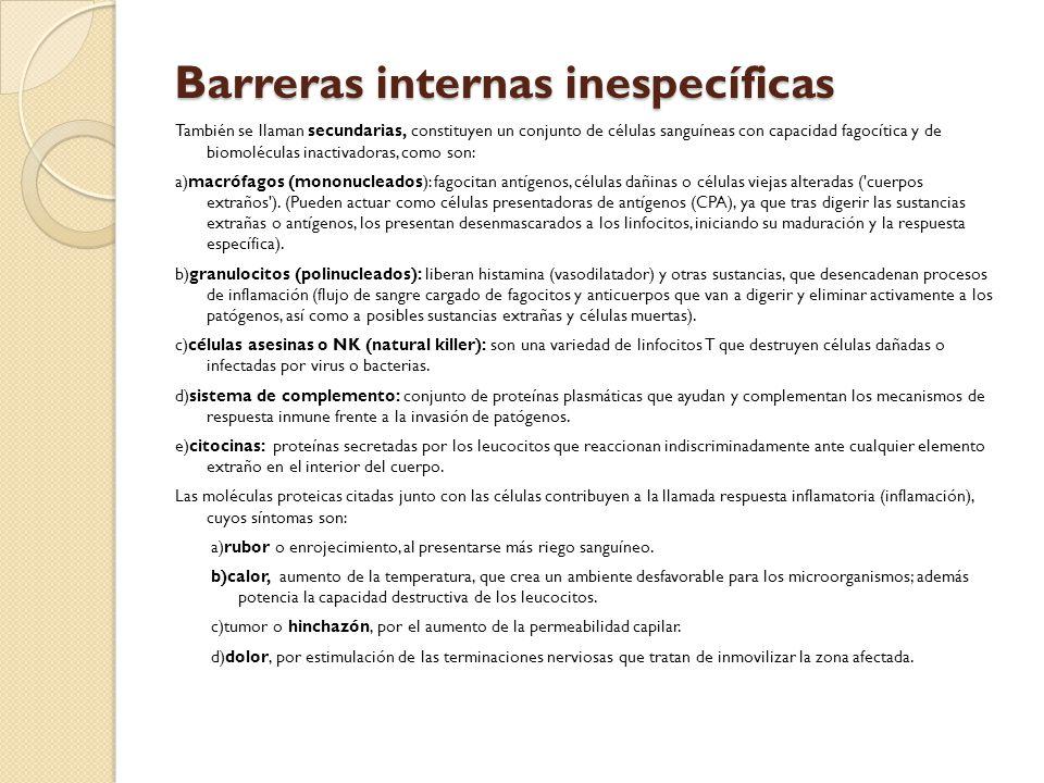 Barreras internas inespecíficas